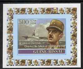 Guinea - Bissau 2008 Charles de Gaulle 500f individual imperf deluxe sheet unmounted mint. Note this item is privately produced and is offered purely on its thematic appeal
