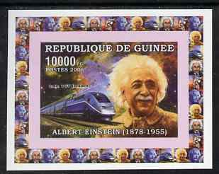 Guinea - Conakry 2006 Albert Einstein individual imperf deluxe sheet #2 with TGV Train, unmounted mint. Note this item is privately produced and is offered purely on its thematic appeal as Yv 320