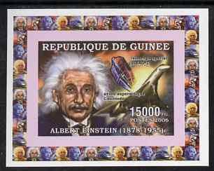 Guinea - Conakry 2006 Albert Einstein individual imperf deluxe sheet #3 with Concorde, unmounted mint. Note this item is privately produced and is offered purely on its thematic appeal as Yv 321