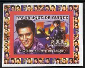 Guinea - Conakry 2006 Elvis Presley individual imperf deluxe sheet #1, unmounted mint. Note this item is privately produced and is offered purely on its thematic appeal as Yv 322