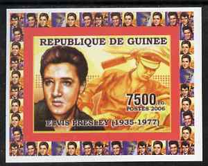 Guinea - Conakry 2006 Elvis Presley individual imperf deluxe sheet #2, unmounted mint. Note this item is privately produced and is offered purely on its thematic appeal as Yv 323