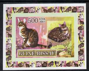 Guinea - Bissau 2007 Domestic cats 500f individual imperf deluxe sheet #1 unmounted mint. Note this item is privately produced and is offered purely on its thematic appeal