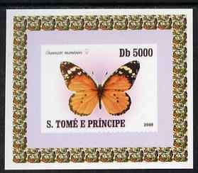 St Thomas & Prince Islands 2008 Butterflies individual imperf deluxe sheet #1 unmounted mint. Note this item is privately produced and is offered purely on its thematic appeal