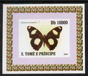 St Thomas & Prince Islands 2008 Butterflies individual imperf deluxe sheet #3 unmounted mint. Note this item is privately produced and is offered purely on its thematic appeal