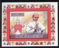 St Thomas & Prince Islands 2007 Popes individual imperf deluxe sheet #1 showing Pope Paul VI (1897-1978) unmounted mint. Note this item is privately produced and is offered purely on its thematic appeal
