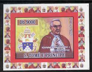 St Thomas & Prince Islands 2007 Popes individual imperf deluxe sheet #2 showing Pope John Paul I (1912-1978) unmounted mint. Note this item is privately produced and is offered purely on its thematic appeal