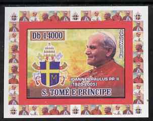 St Thomas & Prince Islands 2007 Popes individual imperf deluxe sheet #3 showing Pope John Paul II (1920-2005) unmounted mint. Note this item is privately produced and is offered purely on its thematic appeal