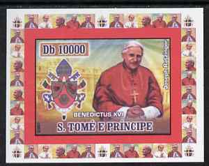 St Thomas & Prince Islands 2007 Popes individual imperf deluxe sheet #4 showing Pope Benedict XVI, unmounted mint. Note this item is privately produced and is offered purely on its thematic appeal
