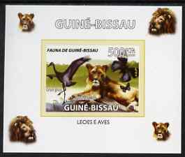 Guinea - Bissau 2008 Fauna individual imperf deluxe sheet #01 showing Lion & Crane, unmounted mint