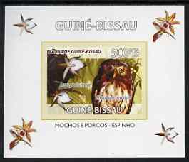 Guinea - Bissau 2008 Fauna individual imperf deluxe sheet #06 showing Pearl Spotted Owl & Orchid, unmounted mint. Note this item is privately produced and is offered purely on its thematic appeal