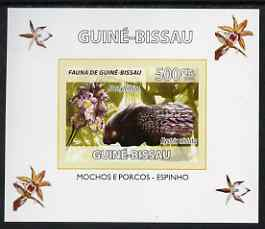 Guinea - Bissau 2008 Fauna individual imperf deluxe sheet #07 showing Porcupine & Dactylorhiza Orchid, unmounted mint. Note this item is privately produced and is offered purely on its thematic appeal