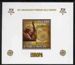 St Thomas & Prince Islands 2006 50th Anniversary of First Europa Stamp individual imperf deluxe sheet #01 showing Pope John Paul & Logos, unmounted mint. Note this item is privately produced and is offered purely on its thematic appeal