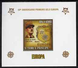 St Thomas & Prince Islands 2006 50th Anniversary of First Europa Stamp individual imperf deluxe sheet #02 showing De Gaulle & Logos, unmounted mint. Note this item is pri...
