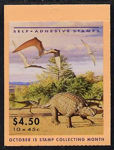 Booklet - Australia 1993 Prehistoric Animals $4.50 self-adhesive booklet SG SB81