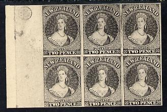 New Zealand 1855 Chalon Head 2d Hausberg's imperf proof block of 6 in black on white card, very fine