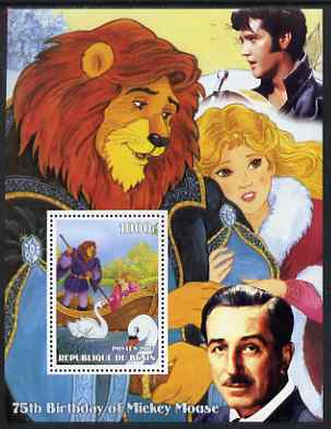 Benin 2002 75th Birthday of Mickey Mouse - Beauty & the Beast perf m/sheet unmounted mint. Note this item is privately produced and is offered purely on its thematic appe...