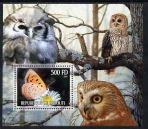 Djibouti 2006 Owl & Butterfly #4 perf m/sheet unmounted mint. Note this item is privately produced and is offered purely on its thematic appeal