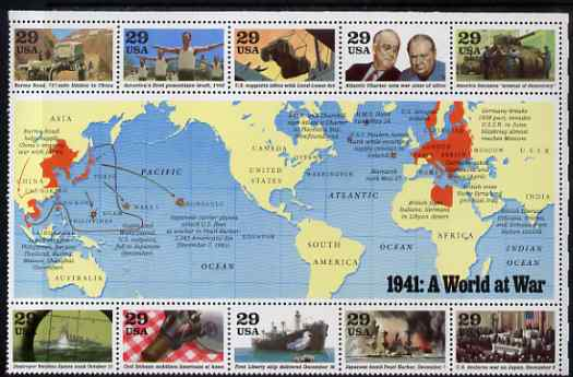 United States 1991 US Participation in WW2 - 1st issue - 1941 A world at War perf sheetlet containing 10 values plus large label unmounted mint, SG 2620a