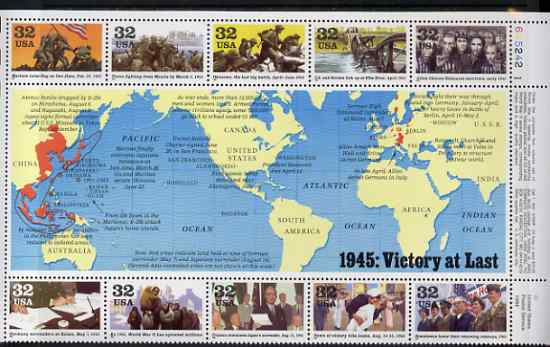 United States 1995 US Participation in WW2 - 5th issue - 1945 Victory at Last perf sheetlet containing 10 values plus large label unmounted mint, SG 3111a