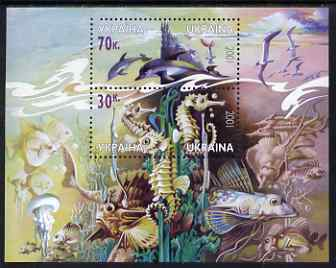 Ukraine 2001 Fauna of the Black Sea perf m/sheet containing 2 values unmounted mint SG MS 405