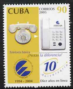 Cuba 2005 10th Anniversary of ETECSA (Telephones) 90c unmounted mint SG 4824