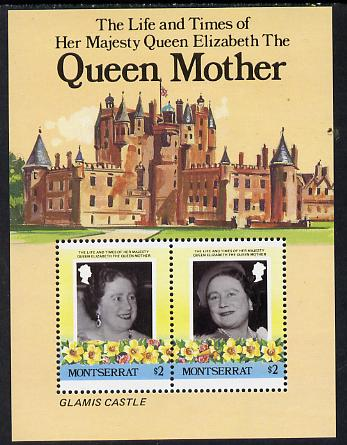 Montserrat 1985 Life & Times of HM Queen Mother (Glamis Castle) m/sheet unmounted mint, SG MS 644