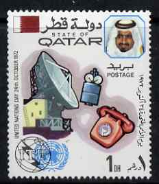Qatar 1972 Dish Aerial, Satellite & Telephone (ITU) 1d unmounted mint SG 435