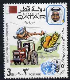 Qatar 1972 Tractor, Produce & Helicopter (FAO) 3d unmounted mint SG 437