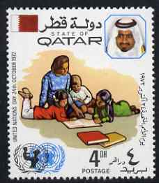 Qatar 1972 Children with Books (UNICEF) 4d unmounted mint SG 438