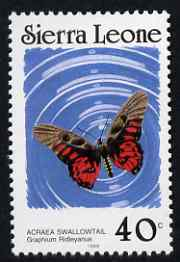 Sierra Leone 1987-89 Butterflies 40c (Graphium ridleyanus) with Country name in black & 1989 imprint date P12.5 x 11.5 unmounted mint, SG 1030Bc