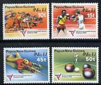Papua New Guinea 1982 Commonwealth Games and Anpex 82 Stamp Exhibition set of 4 unmounted mint, SG 460-63, stamps on sports, stamps on boxing, stamps on shooting, stamps on bowls, stamps on athletics, stamps on stamp exhibitions, stamps on sport