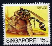 Singapore 1986 Delta arcuata (Wasp) 15c used SG 493 from Insects set of 12