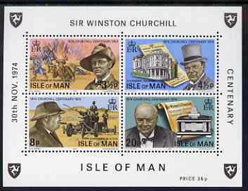 Isle of Man 1974 Churchill Centenary miniature sheet containing 4 values unmounted mint, SG MS58