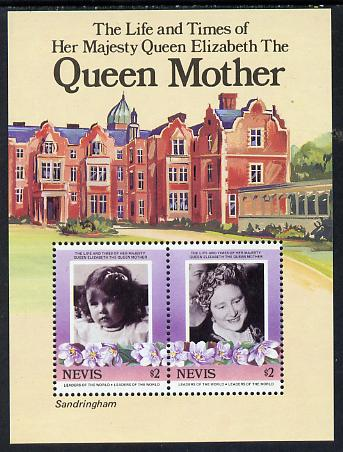 Nevis 1985 Life & Times of HM Queen Mother (Sandringham) m/sheet (SG MS 317) unmounted mint