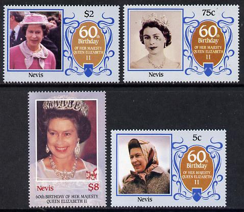 Nevis 1986 Queen's 60th Birthday set of 4 unmounted mint SG 384-7
