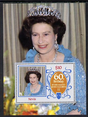 Nevis 1986 Queen's 60th Birthday m/sheet unmounted mint SG MS 388