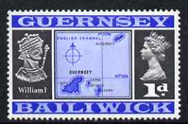 Guernsey 1969-70 1d Map and William I unmounted mint SG 14, stamps on maps, stamps on royalty, stamps on