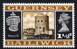 Guernsey 1969-70 1.5d Martello Tower & Henry II unmounted mint SG 15