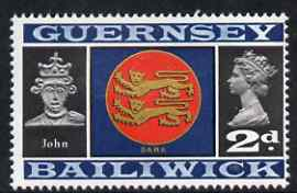 Guernsey 1969-70 2d Arms of Sark and King John unmounted mint SG 16