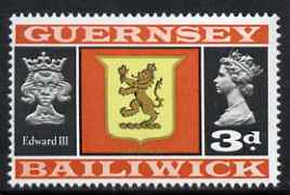 Guernsey 1969-70 3d Arms of Alderney and Edward III unmounted mint SG 17
