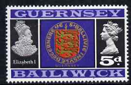 Guernsey 1969-70 5d Arms of Guernsey & Elizabeth I unmounted mint SG 19