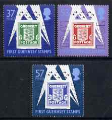 Guernsey 1991 50th Anniversary of first Guernsey Stamps perf set of 3 unmounted miint SG 517-9
