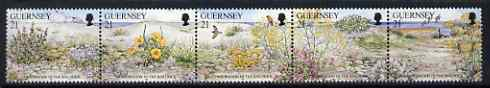 Guernsey 1991 Nature Conservation se-tenant strip of 5 flowers unmounted mint, SG 535a, stamps on flowers, stamps on poppy, stamps on herbs, stamps on birds, stamps on food