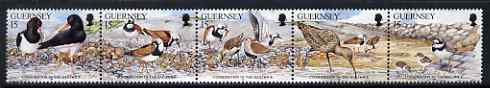 Guernsey 1991 Nature Conservation se-tenant strip of 5 Birds unmounted mint, SG 530a