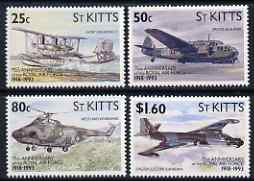 St Kitts 1993 Aircraft 75th Anniversary of Royal Air Force set of 4 unmounted mint, SG 369-72