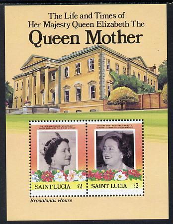 St Lucia 1985 Life & Times of HM Queen Mother (Broadlands House) m/sheet (SG MS 840) unmounted mint