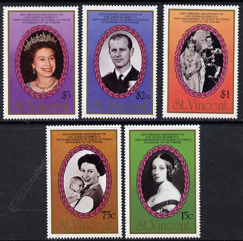 St Vincent 1987 Ruby Wedding set of 5 unmounted mint SG 1079-83