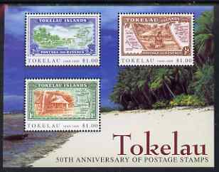 Tokelau 1998 50th Anniversary of Tokelau Postage Stamps m/sheet of 3 values unmounted mint, SG MS277