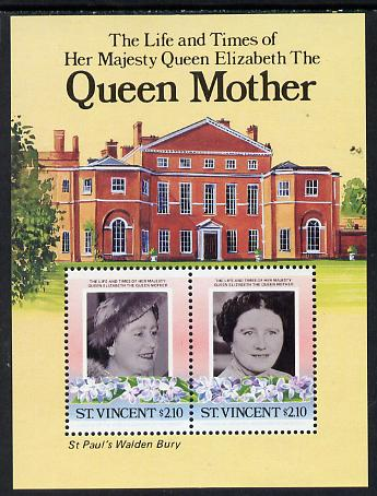 St Vincent 1985 Life & Times of HM Queen Mother (St Paul's Walden Bury) m/sheet unmounted mint (SG MS 918)