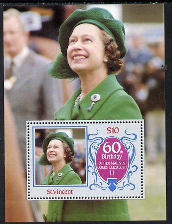 St Vincent 1986 Queen's 60th Birthday m/sheet unmounted mint SG MS 982